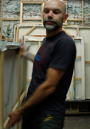 Tom Climent in his Artist Studio